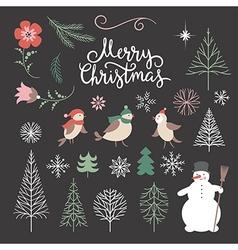set christmas design elements vector image