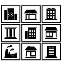 set modern urban building vector image