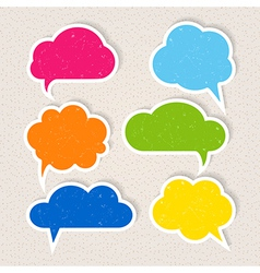 Set of colorful frayed speech bubbles vector