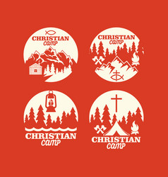 set of logos of a christian camp vector image