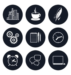 Set of Round Business Icons Team Work vector image