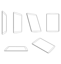 Set tablet flat icons vector