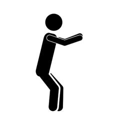 Silhouette monochrome man squat icon vector