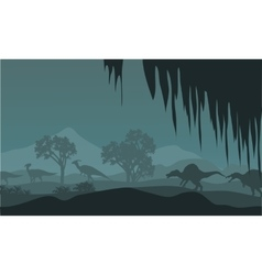 Silhouette of parasaurolophus and spinosaurus vector