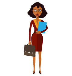 Spectacled good-looking african american lady vector