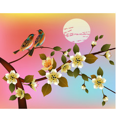 Spring all wakes up flowers vector