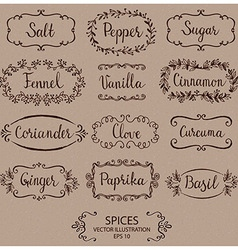 Stickers for spice jars vector
