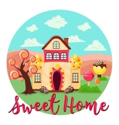 Sweet Home Round Composition vector
