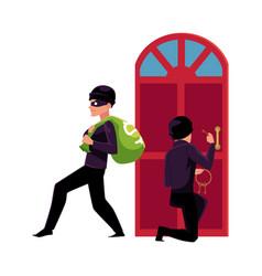 Thief burglar breaking in house and walking away vector