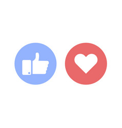 thumbs up and heart social sign or icon vector image