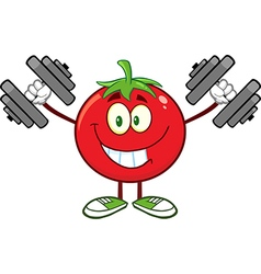 Tomato Cartoon with Dumbbells vector
