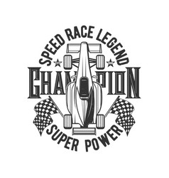 tshirt print with retro bolide car for race club vector image
