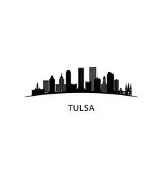 tulsa city oklahoma skyline black cityscape vector image