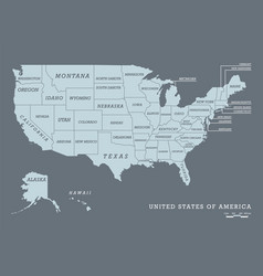 usa map with name states vector image