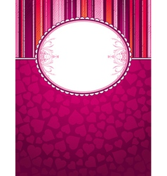 Valentine pink background with big label and heart vector