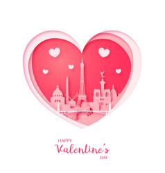 valentines card paper cut heart and paris vector image