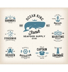 Vintage nautical labels or design elements with vector