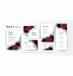 Wedding red and green floral card imvite set vector