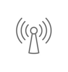 wifi tower antenna line icon vector image