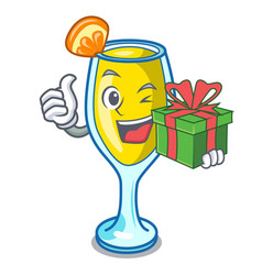 with gift mimosa mascot cartoon style vector image
