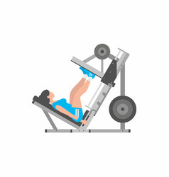 Woman doing leg presses vector