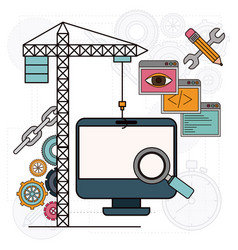 background with crane and desk computer for vector image vector image