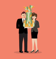 businessman and woman holding a lot of money vector image vector image