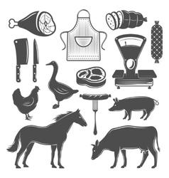 Butchery Monochrome Elements Set vector image vector image