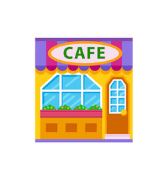 cafe front view flat icon vector image