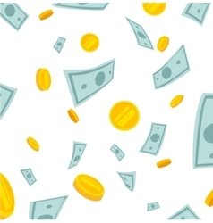 Finance concept Money rain Banknotes and coins vector image