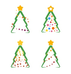 flat xmas tree set 04 vector image vector image