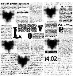 halftone hearts newspapers vector image vector image