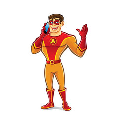 handsome superhero talking vector image