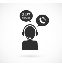 hotline support service with headphones concept vector image vector image