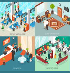 isometric waiting areas set vector image