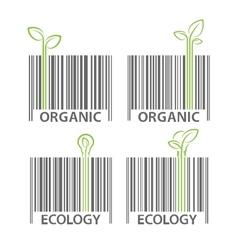Organic ecology barcode symbol set vector image vector image