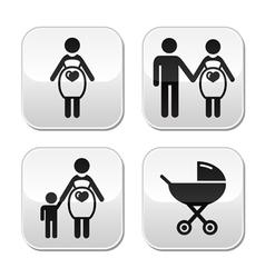 Pregnant woman buttons set vector image