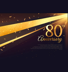 80th anniversary celebration card template vector image
