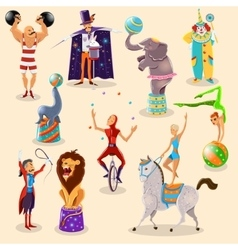 Circus vintage pictograms set arrangement vector image vector image