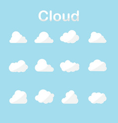 cloud icons set in many forms with blue sky vector image