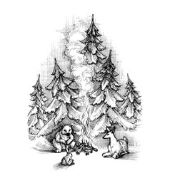cute christmas card sketch forest animals vector image vector image