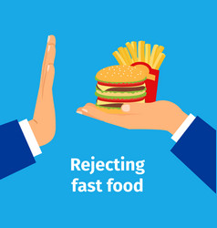 rejecting the offered fast food vector image