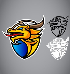 shield gold dragon emblem logo vector image vector image