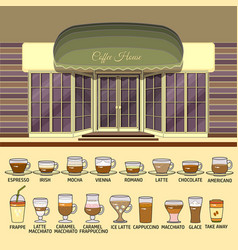 coffee shop and set of cute various coffee icons vector image