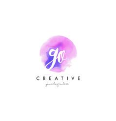 go watercolor letter logo design with purple vector image