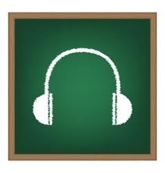 Headphones sign White chalk effect vector image vector image