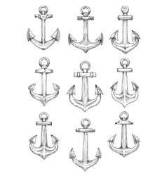 Nautical heraldic sketch symbols of retro anchors vector image vector image