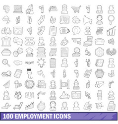 100 employment icons set outline style vector image vector image