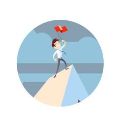 businessman holding flag on mountain peak vector image
