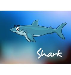 Cartoon shark in sea vector image vector image